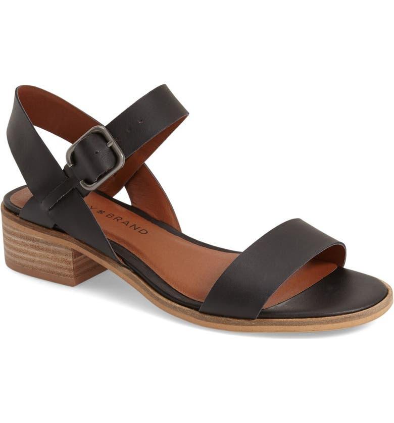 LUCKY BRAND 'Toni' Stacked Heel Sandal, Main, color, 001