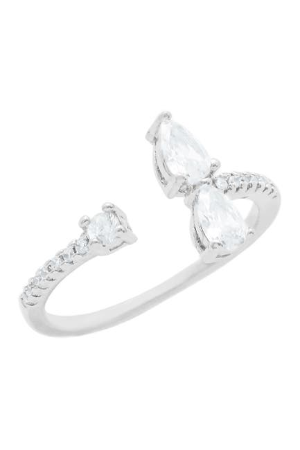 Image of Savvy Cie Sterling Silver Pave & Prong Set CZ Bypass Ring