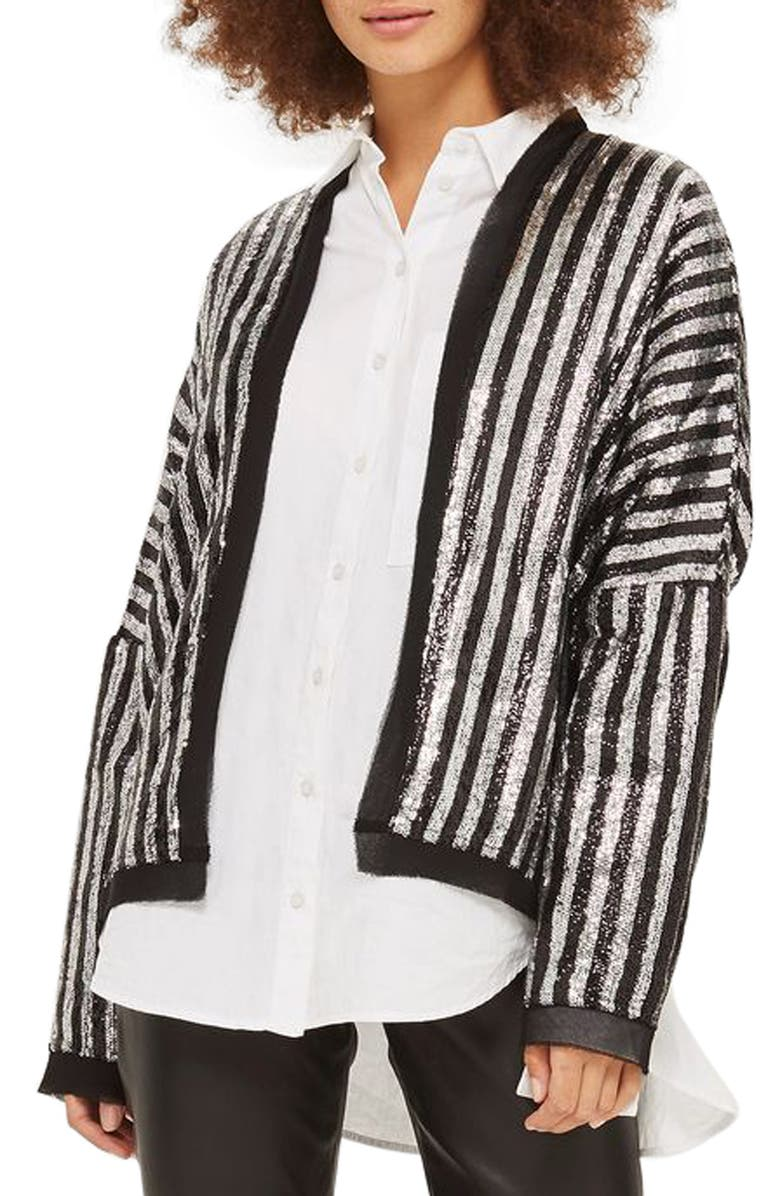 TOPSHOP Batwing Sequin Stripe Jacket, Main, color, 001