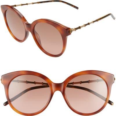 Gucci 55mm Round Sunglasses - Blonde Vintage Havana