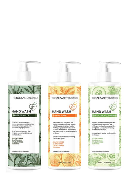 Image of The Clean Standard The Ultimate Hand Wash Set - Tea Tree, Citrus, Green Tea - 3 Pack of 16oz Bottles from THE CLEAN STANDARD