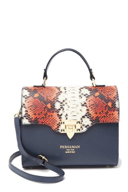Image of Persaman New York Eufemia Snake-Embossed Leather Satchel Bag