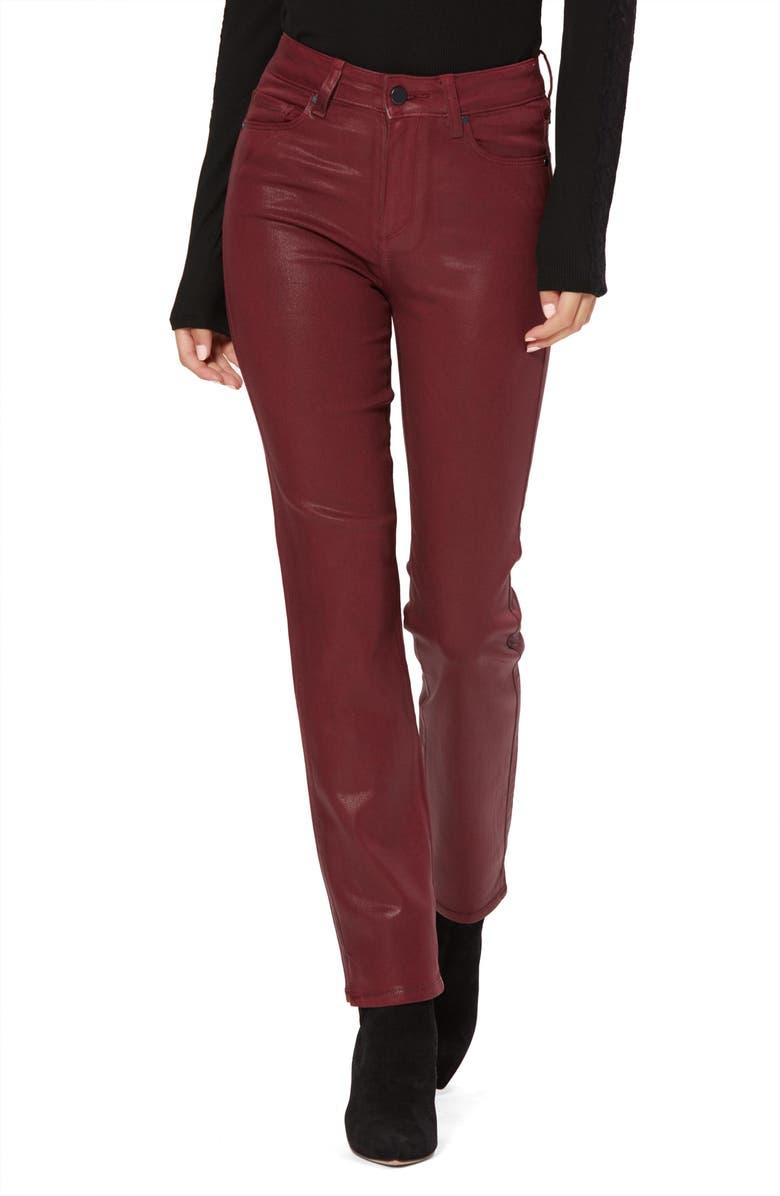 PAIGE Cindy High Waist Coated Side Slit Jeans, Main, color, 930