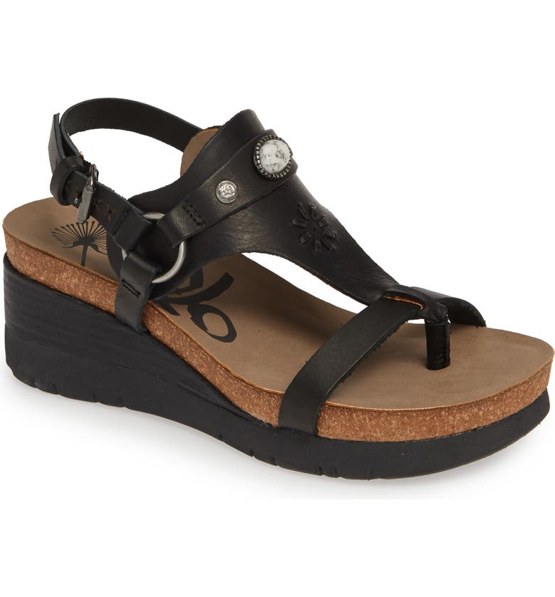 OTBT Maverick Wedge Sandal, Main, color, NEW BLACK LEATHER