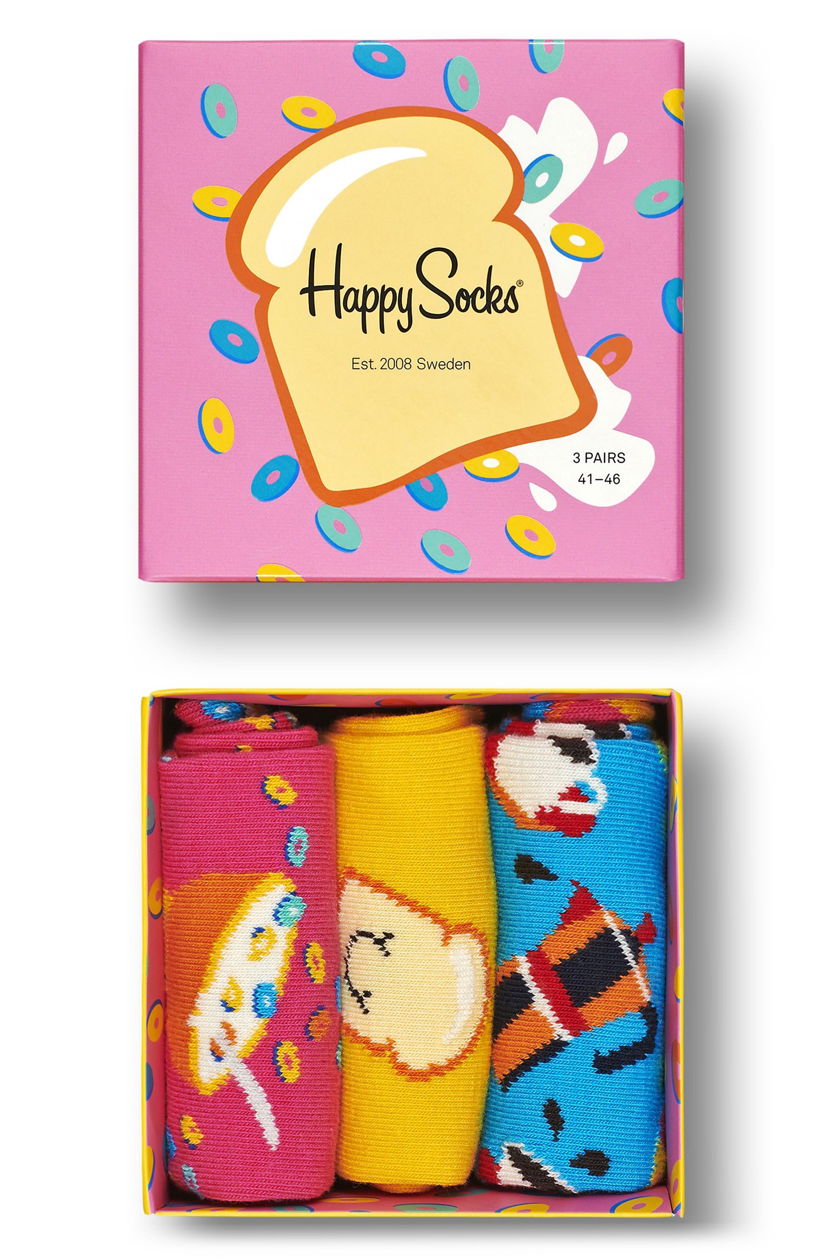 Breakfast Assorted 3-Pack Crew Socks Gift Box