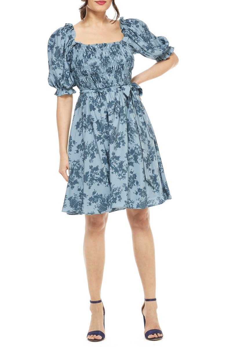 Shiloh Floral Print Smocked Bodice Fit & Flare Dress by Gal Meets Glam Collection