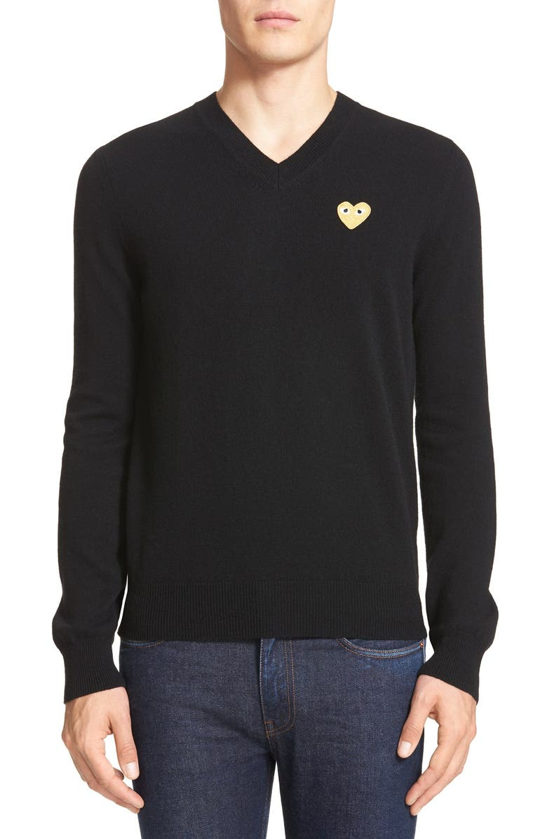 COMME DES GARÇONS PLAY Wool Pullover, Main, color, 001