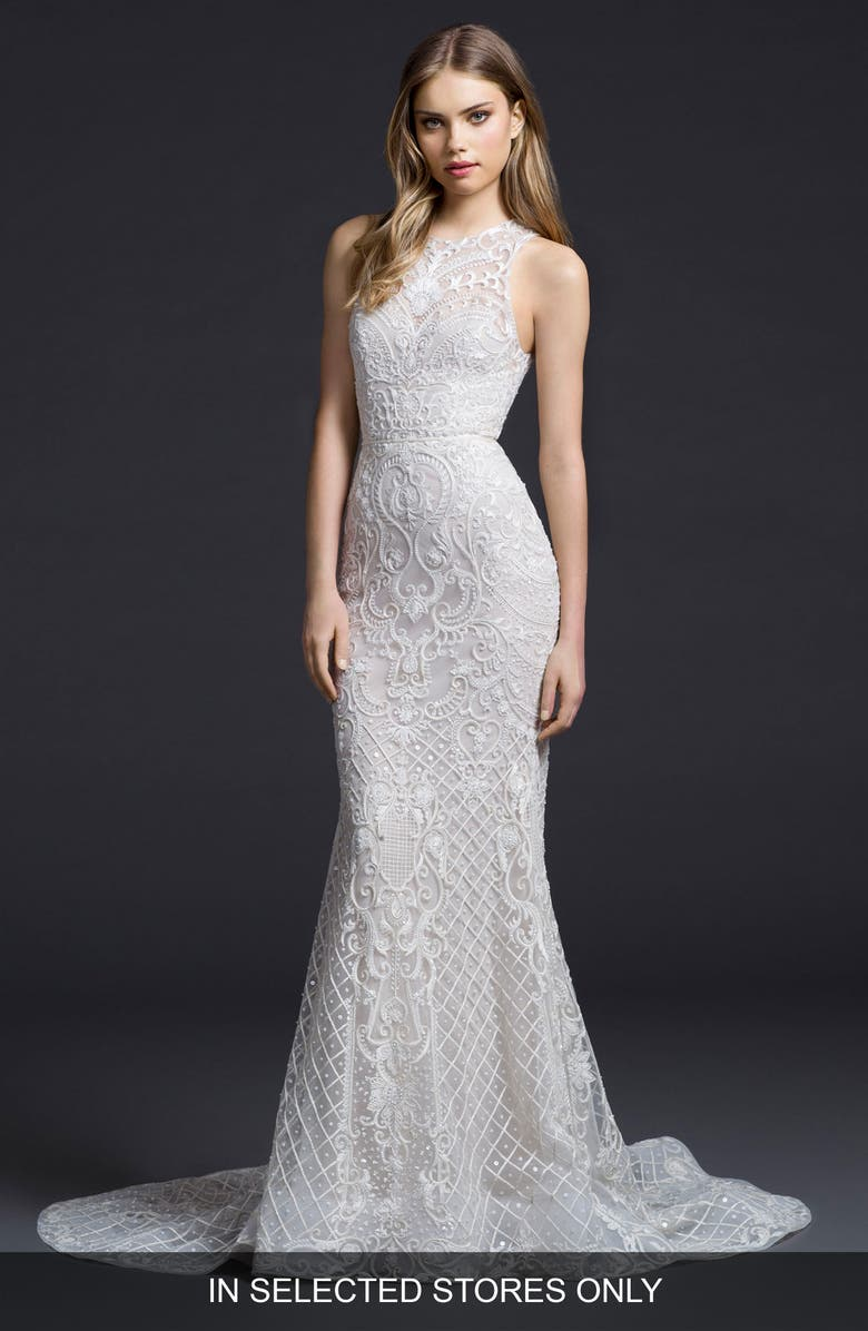 LAZARO Embroidered Chiffon Trumpet Gown, Main, color, IVORY/ CASHMERE