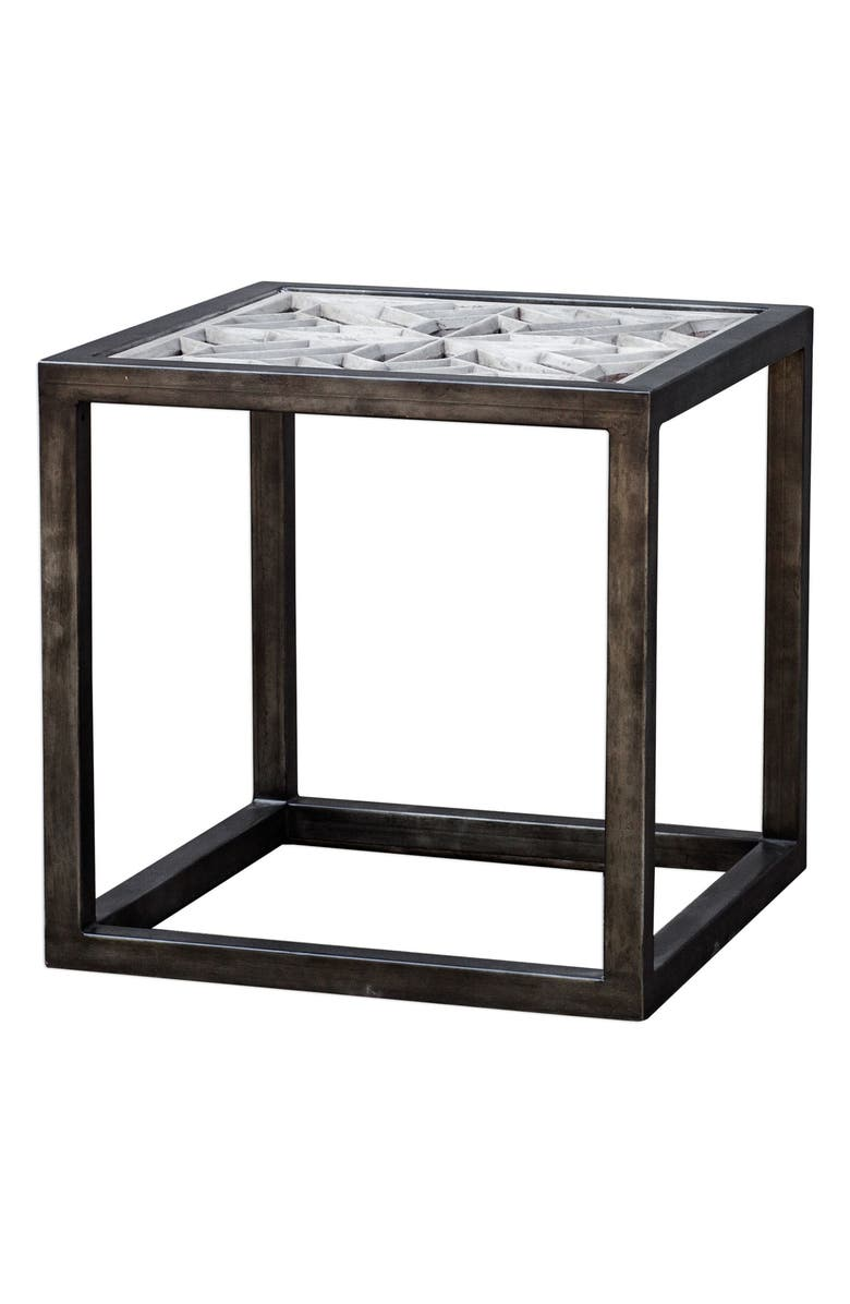 UTTERMOST Baruti Iron Frame End Table, Main, color, WOOD WITH WHITE GLAZE