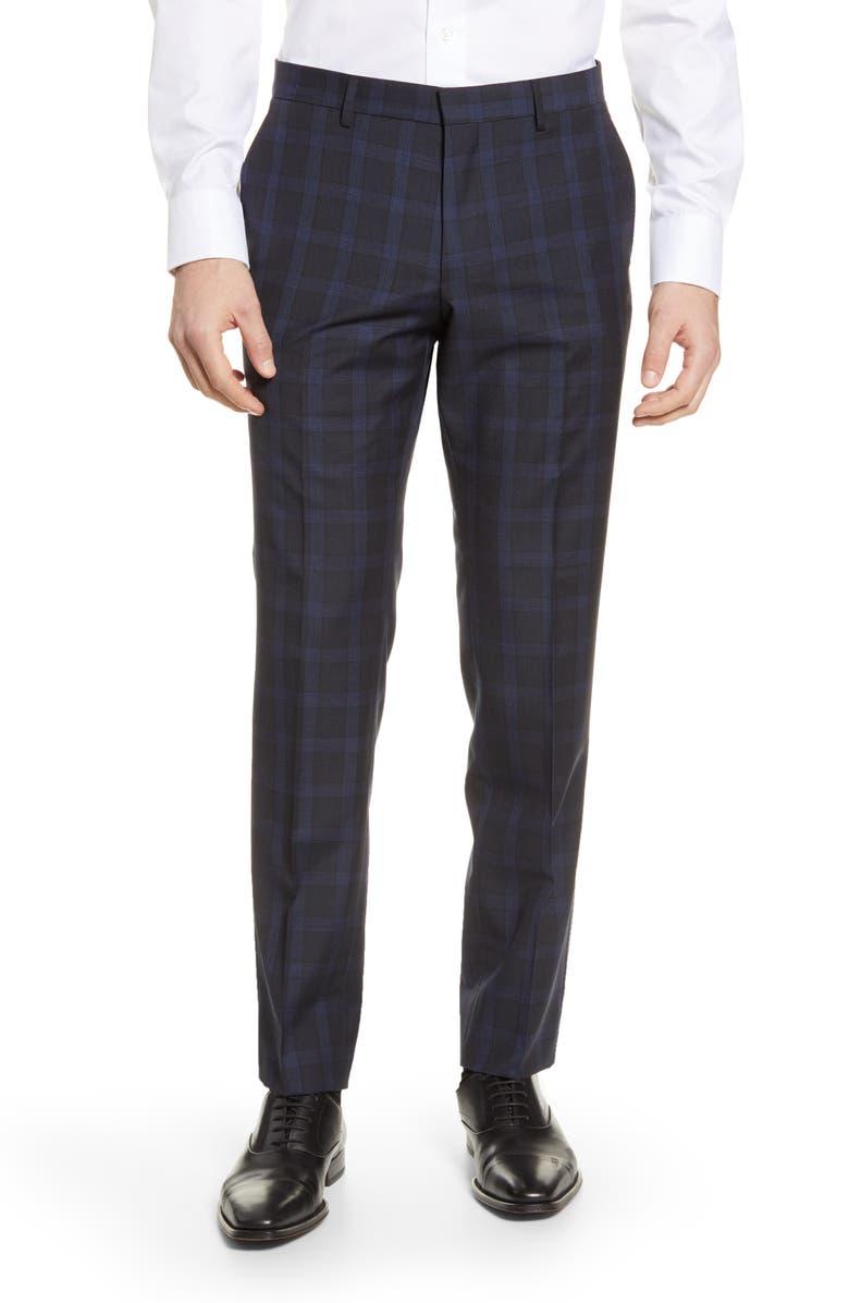 BOSS Huge Flat Front Plaid Wool Dress Pants, Main, color, 402