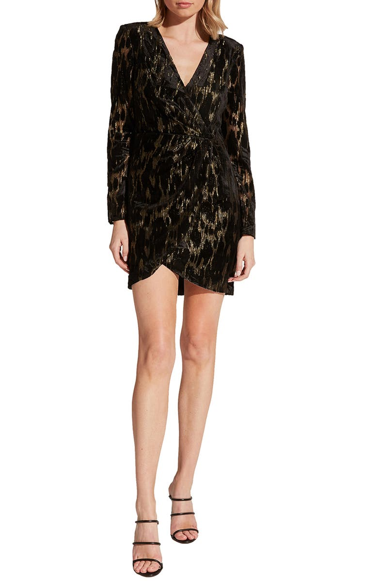 BARDOT Ariela Metallic Long Sleeve Mini Dress, Main, color, LUREX LEO