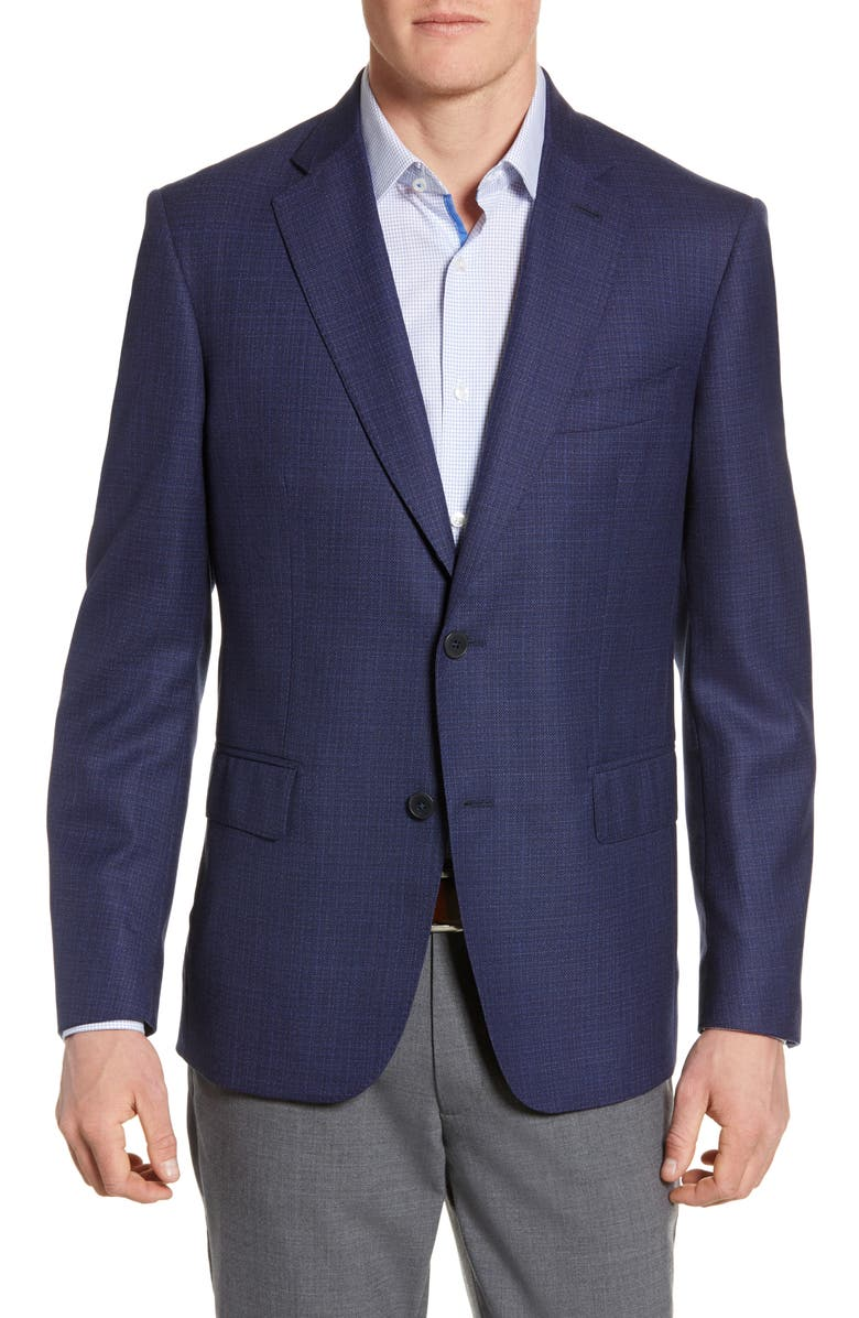 JOHN W. NORDSTROM<SUP>®</SUP> Classic Fit Wool Blazer, Main, color, NAVY IRIS BLUE TEXTURE