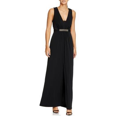 Halston Heritage Jewel Waist Crepe Gown, Black