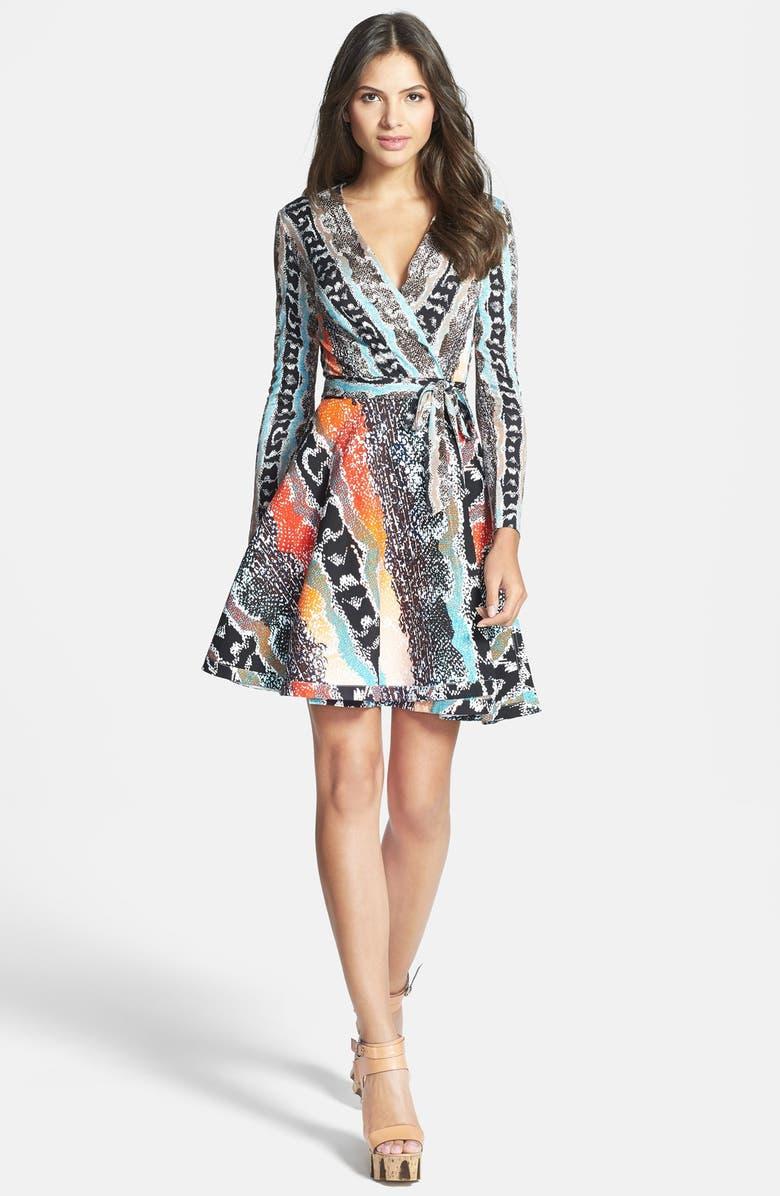 DIANE VON FURSTENBERG 'Amelia' Cotton Blend Wrap Dress, Main, color, 840
