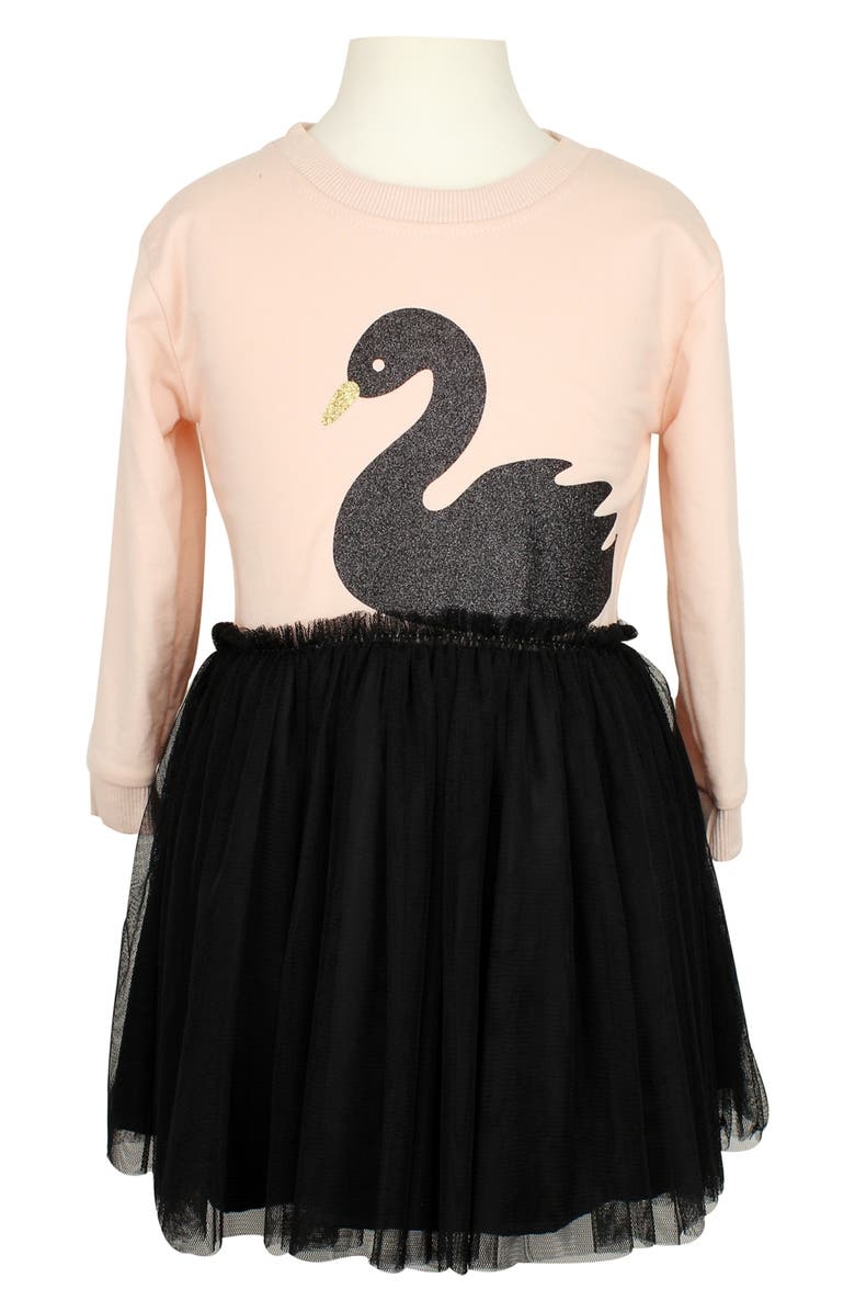 POPATU Swan Tulle Dress, Main, color, PEACH/ BLACK