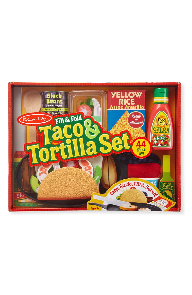 MELISSA & DOUG Fill & Fold Taco & Tortilla Set, Main, color, MULTI