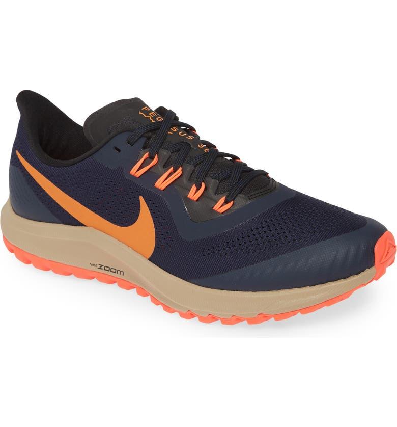 NIKE Air Zoom Pegasus 36 Trail Running Shoe, Main, color, OBSIDIAN/ MAGMA ORANGE/ BLACK