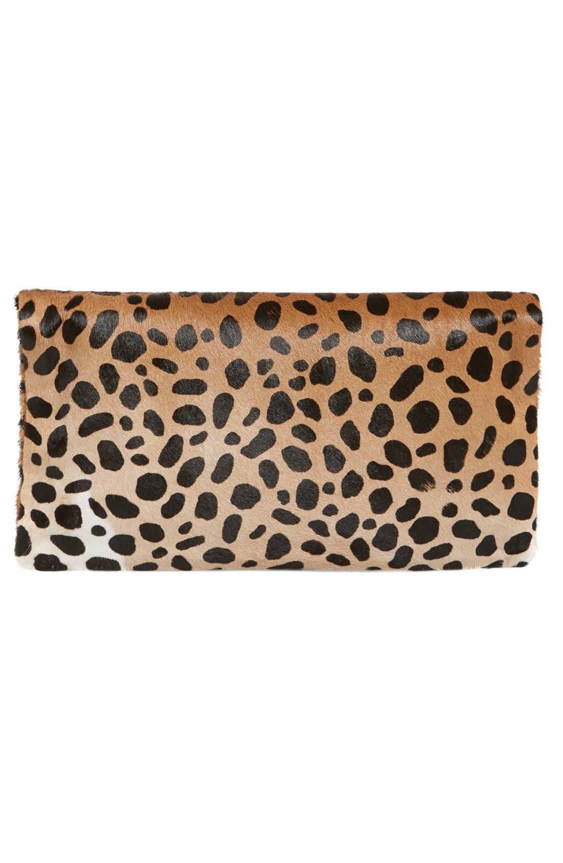 ,                             Genuine Calf Hair Leopard Print Foldover Clutch,                             Alternate thumbnail 9, color,                             250