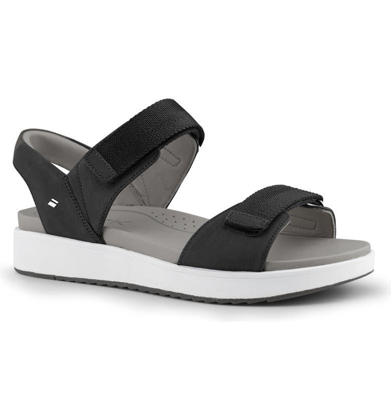 KIZIK Piza Hands-Free Sandal, Main, color, BLACK LEATHER