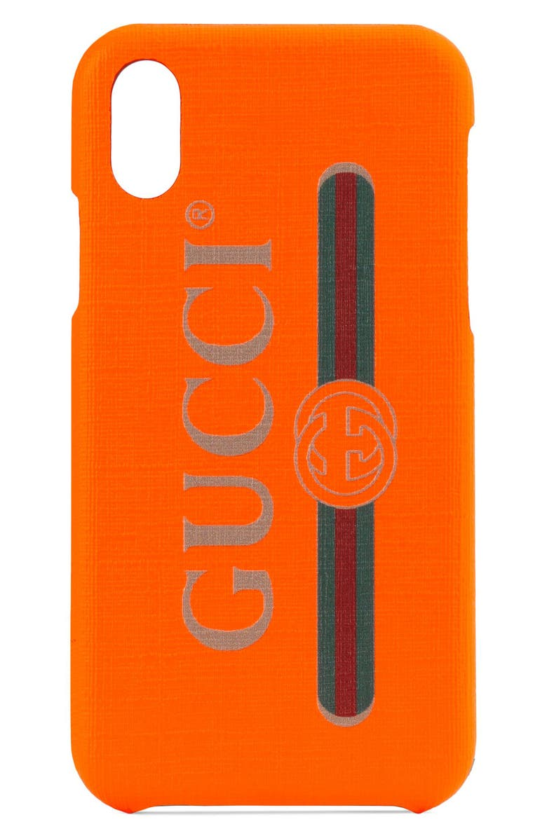 GUCCI Logo iPhone X/Xs Case, Main, color, NEW ORANGE/ VERT/ RED