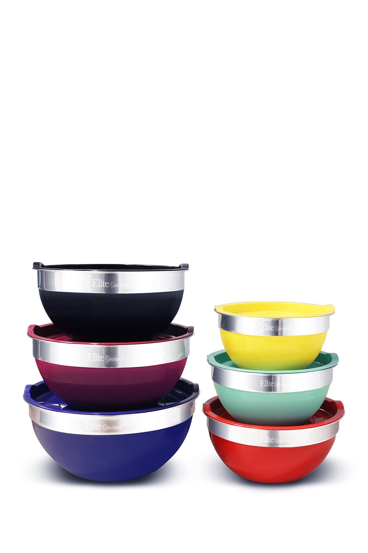 Image of MAXI-MATIC Elite Gourmet 12-Piece Colored Mixing Bowls with Lids