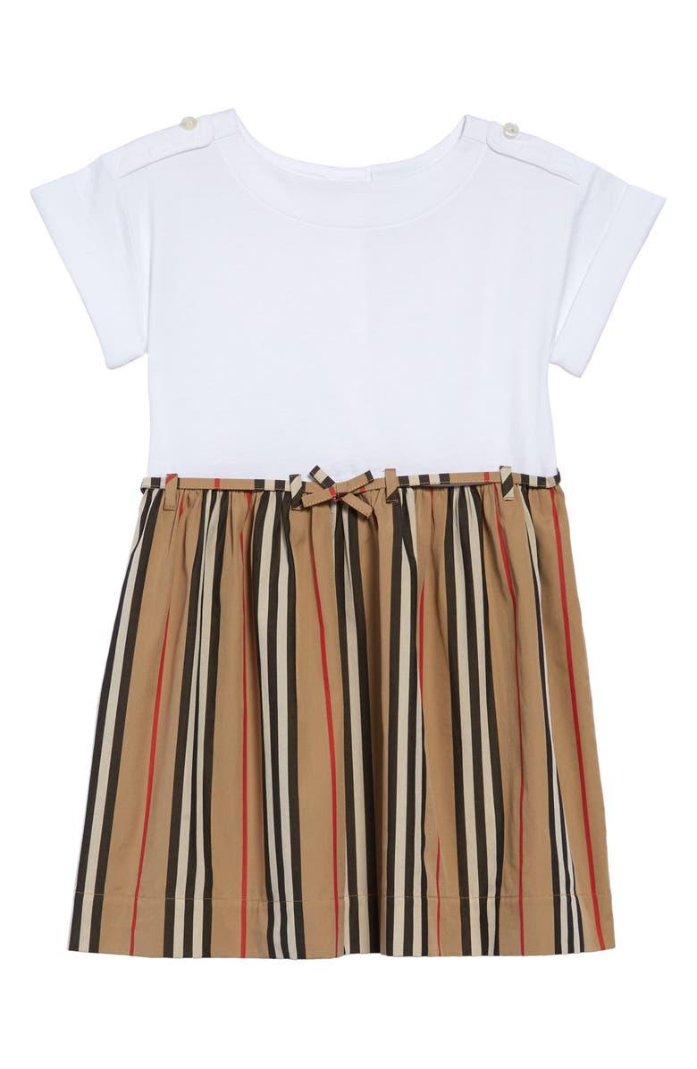 BURBERRY Rhonda Stripe Dress, Main, color, WHITE