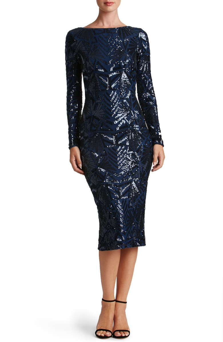 DRESS THE POPULATION Emery Midi Dress, Main, color, NAVY