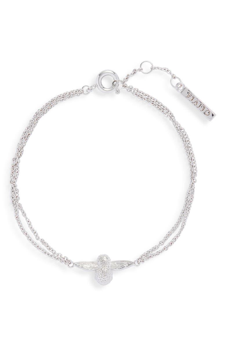 OLIVIA BURTON Bee Chain Bracelet, Main, color, SILVER