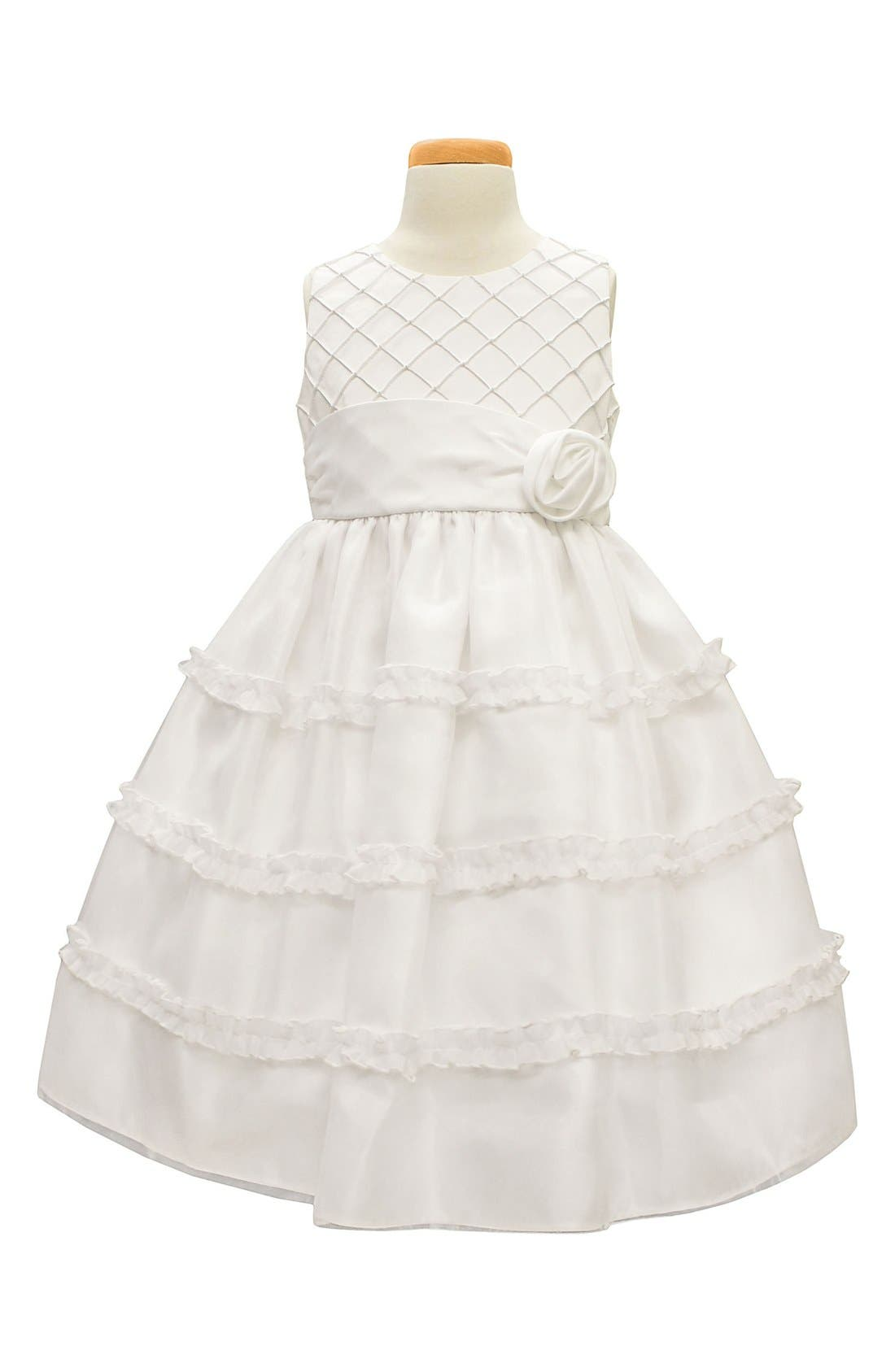 ,                             Diamond Pleated Satin & Organza Dress,                             Main thumbnail 1, color,                             WHITE