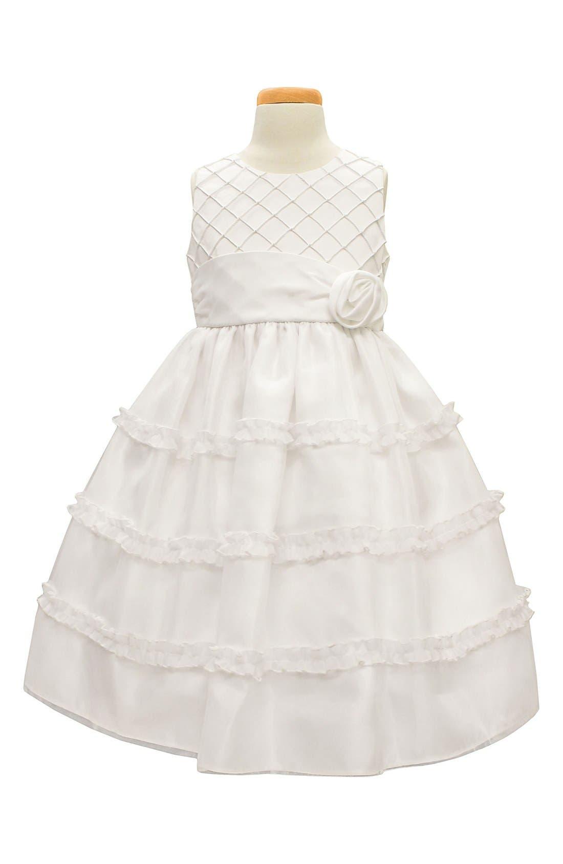 Diamond Pleated Satin & Organza Dress, Main, color, WHITE