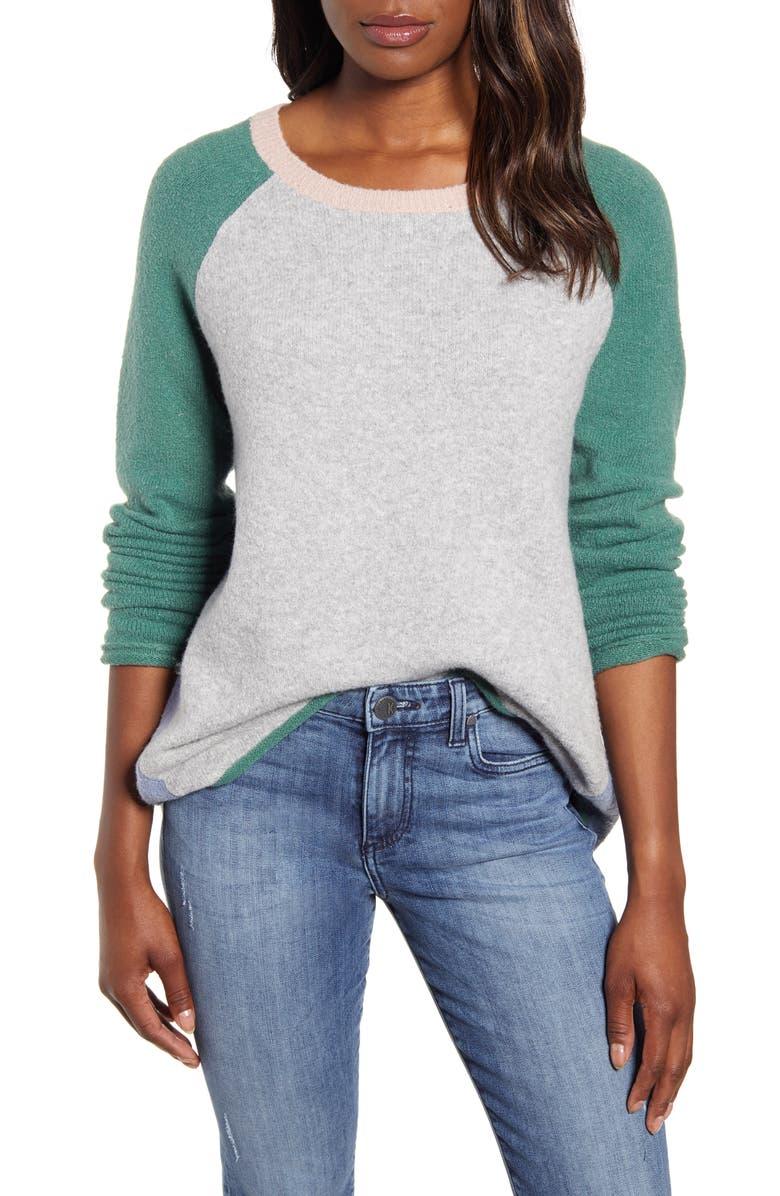 CASLON<SUP>®</SUP> Colorblock Sweater, Main, color, 030
