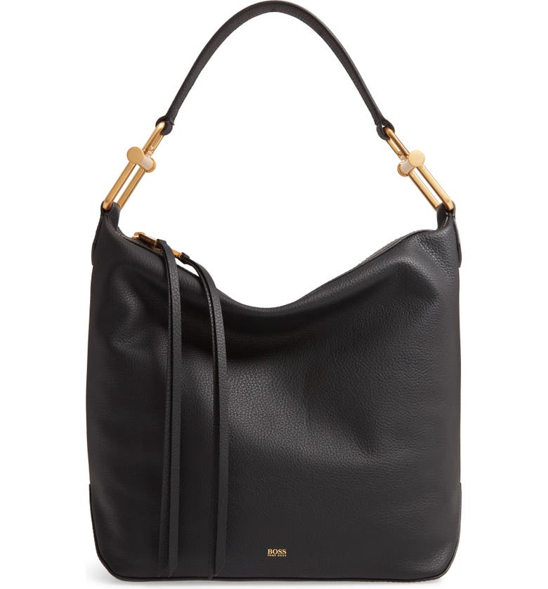 BOSS Small Kristin Leather Hobo, Main, color, BLACK