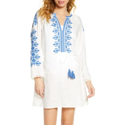 Tory Burch Embroidered Linen Cover-Up Tunic, Ivory
