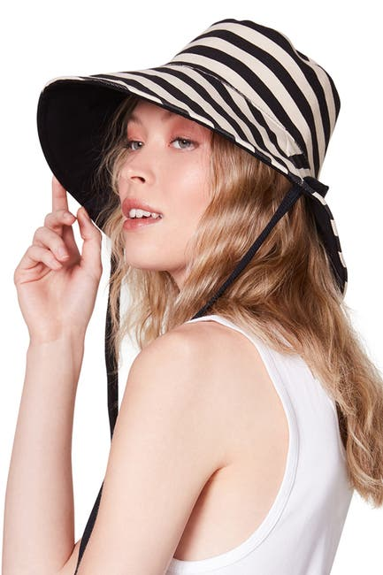 Image of Steve Madden Reversible Striped Canvas Bucket Hat
