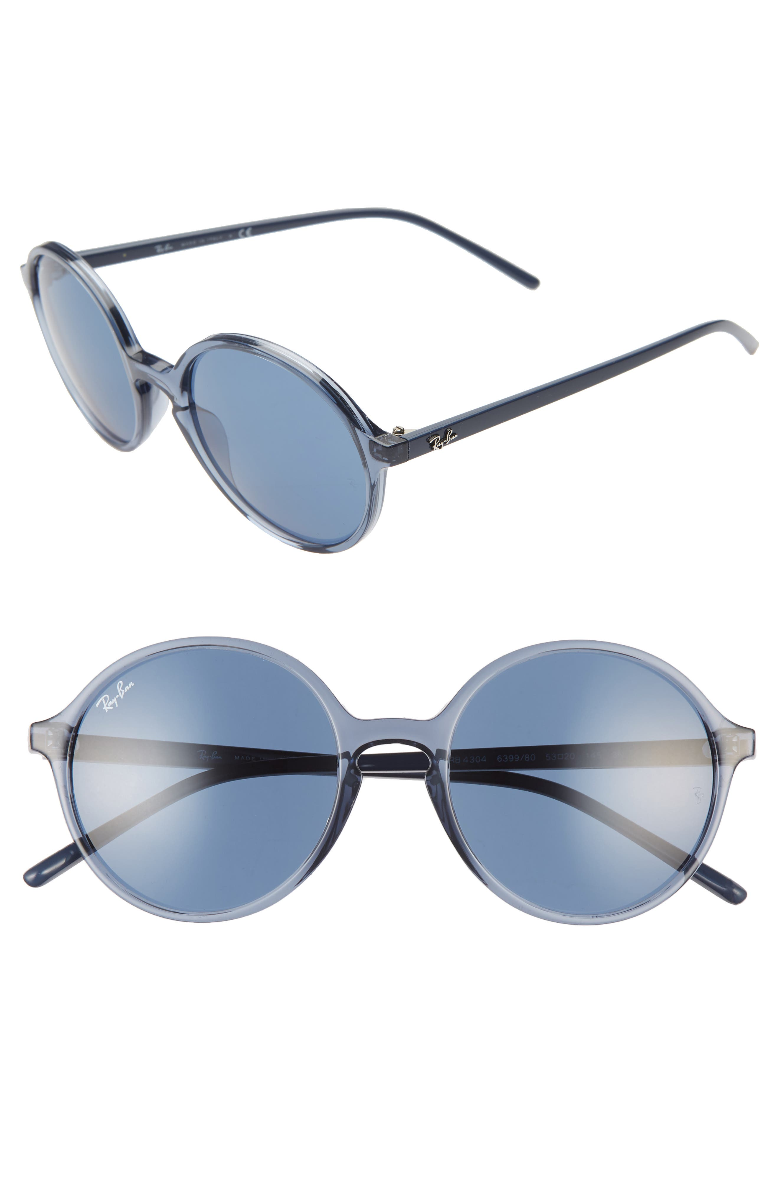 Ray-Ban 5m Round Sunglasses - Trasparent Blue/ Blue Solid