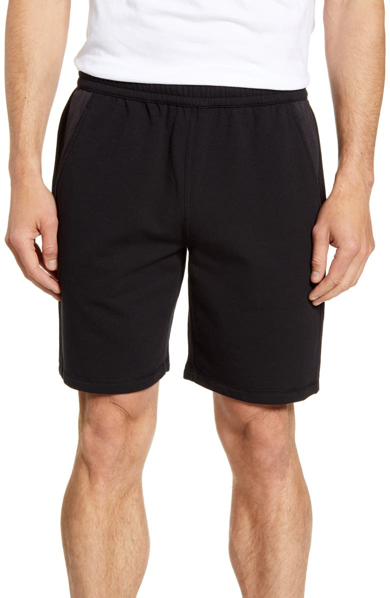 ZELLA Easy Fleece Mesh Inset Shorts, Main, color, BLACK