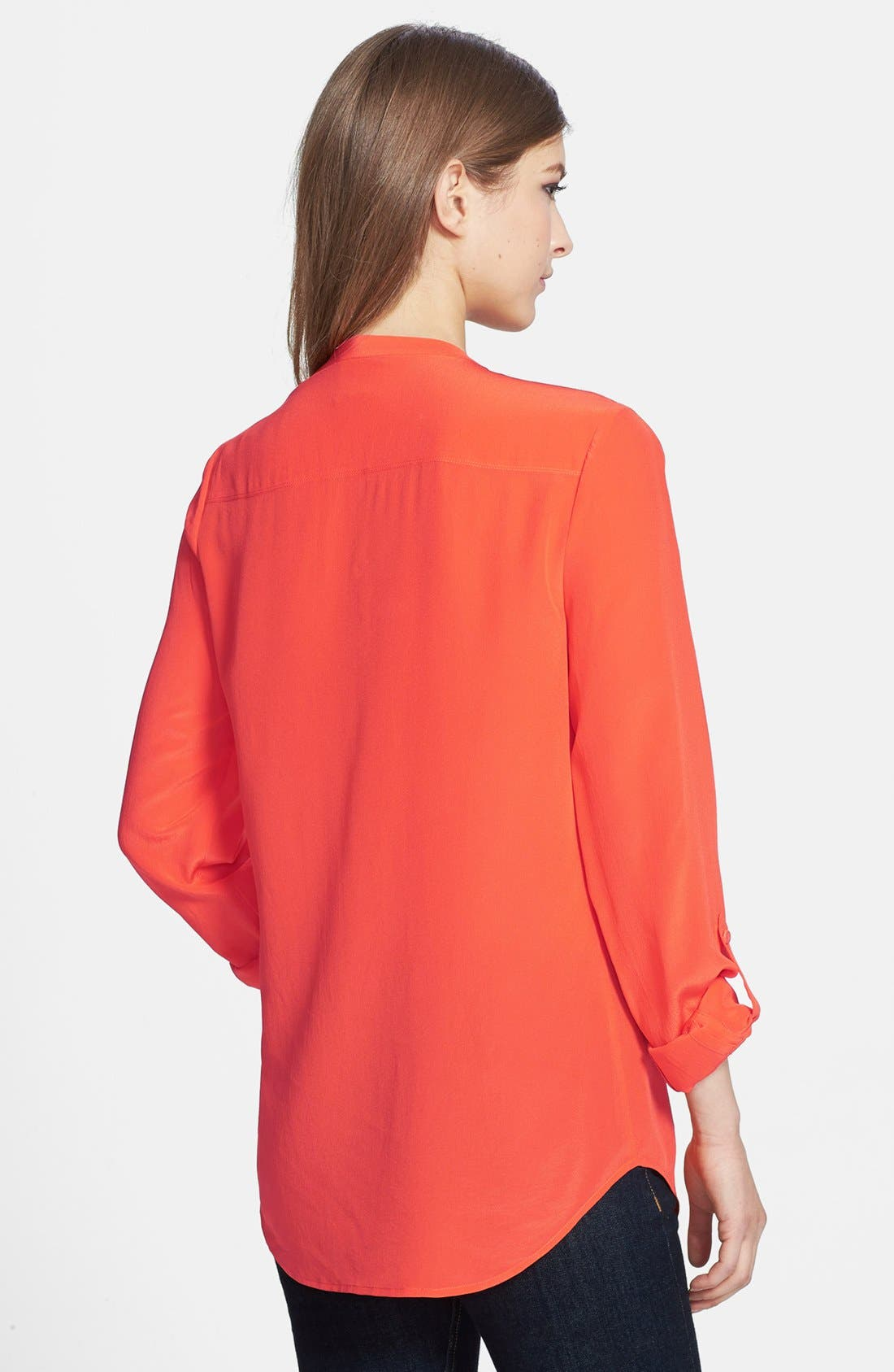 ,                             Collarless Silk Blouse,                             Alternate thumbnail 66, color,                             610