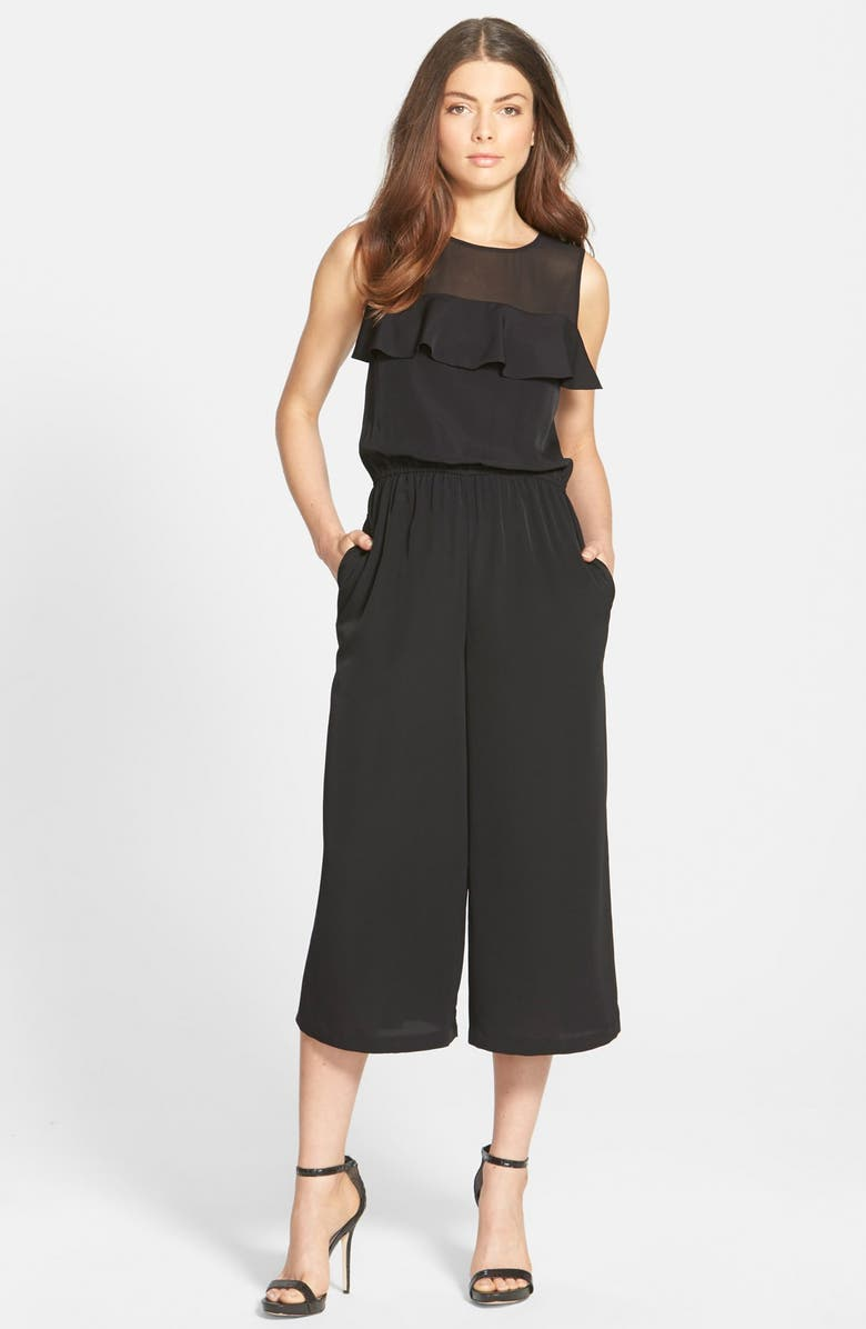 1.STATE Ruffle Chiffon Jumpsuit, Main, color, 001