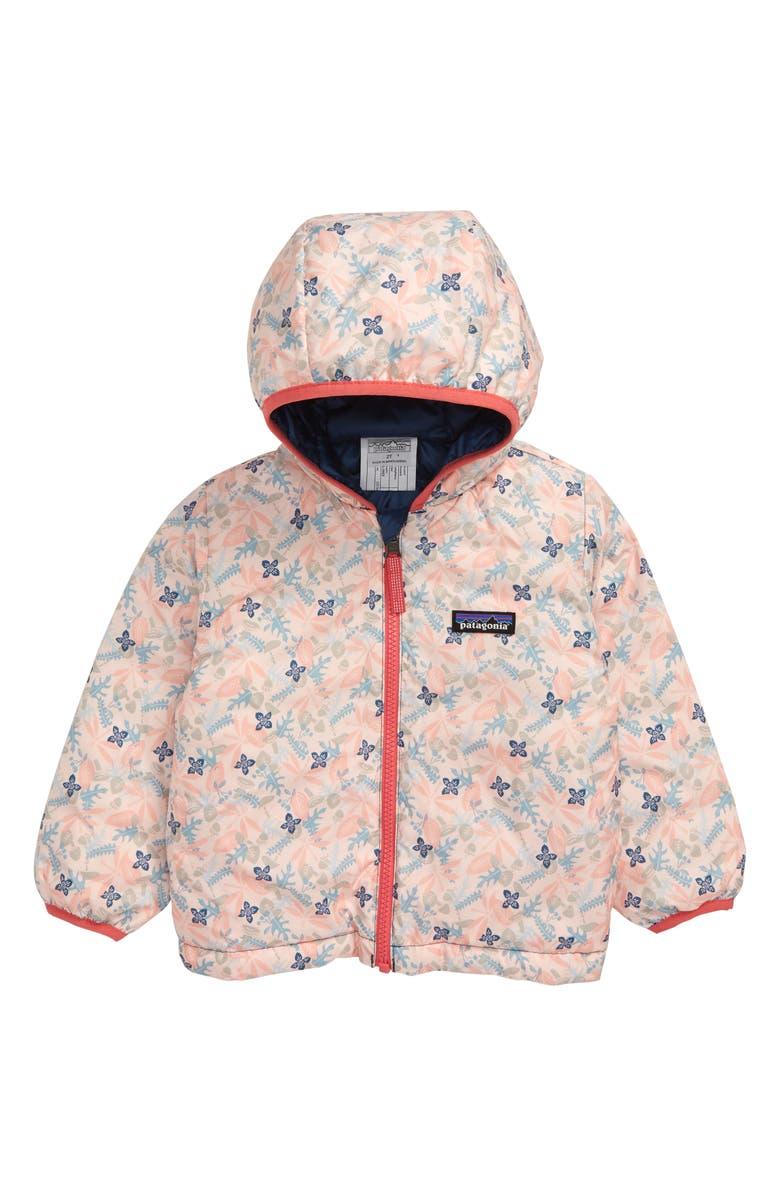 PATAGONIA Reversible Down Sweater Hoodie, Main, color, WFPP WOODLAND FLORAL PINK