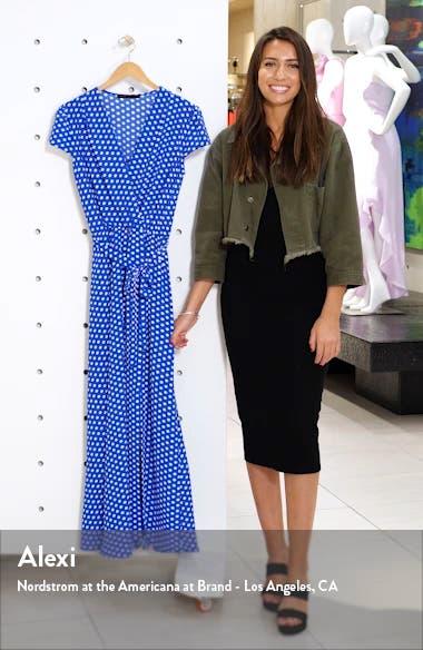 Polka Dot Faux Wrap Maxi Dress, sales video thumbnail