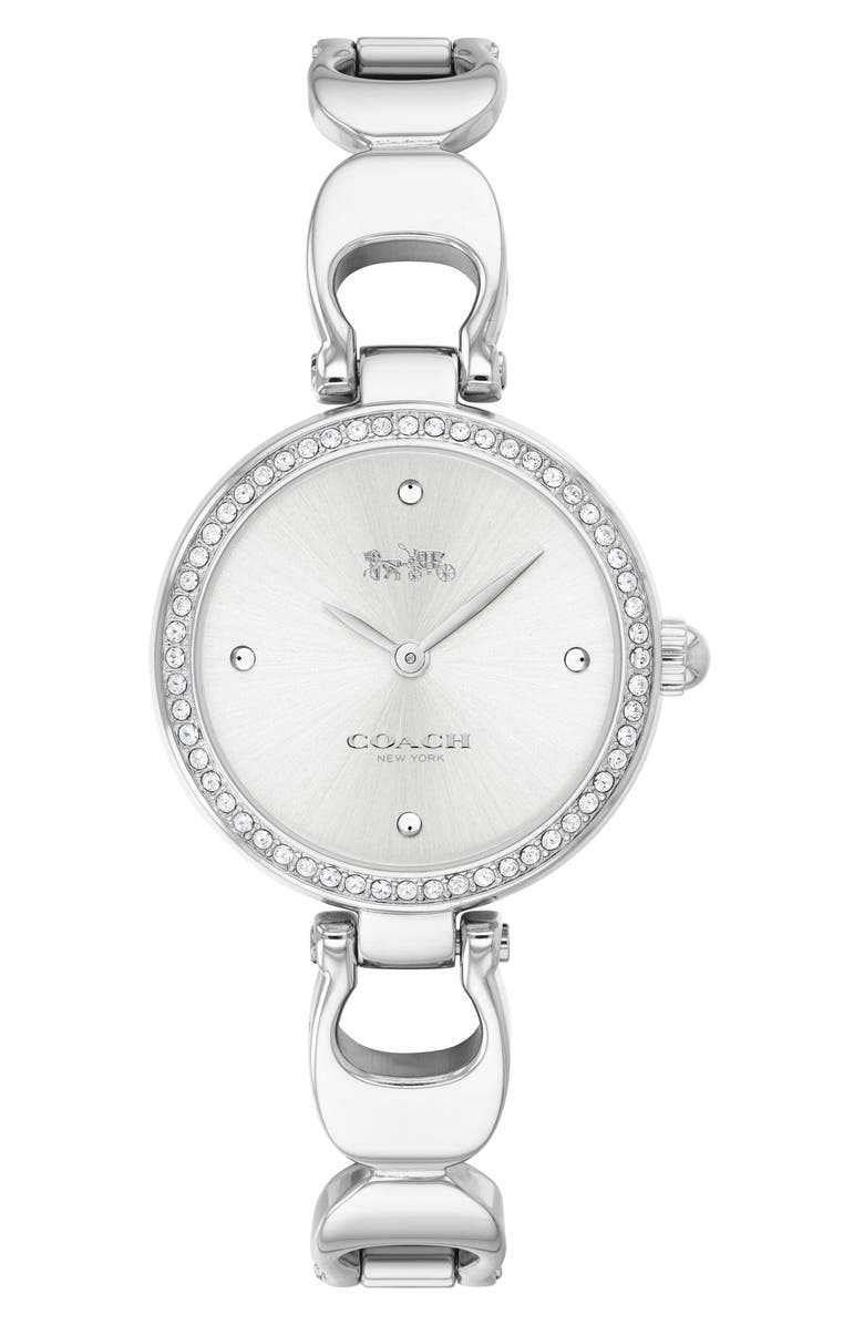 COACH Park Crystal Bangle Watch, 26mm, Main, color, SILVER