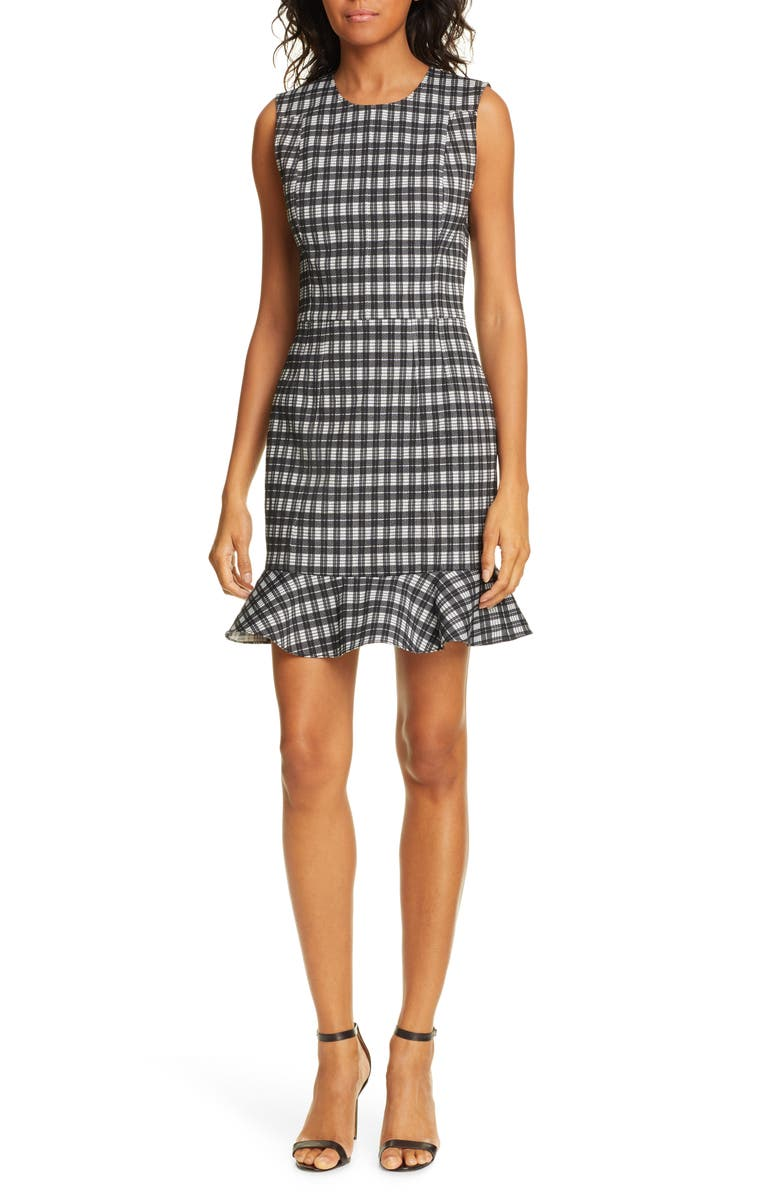 DVF Reiley Plaid Ruffle Hem Dress, Main, color, BLACK/ IVORY