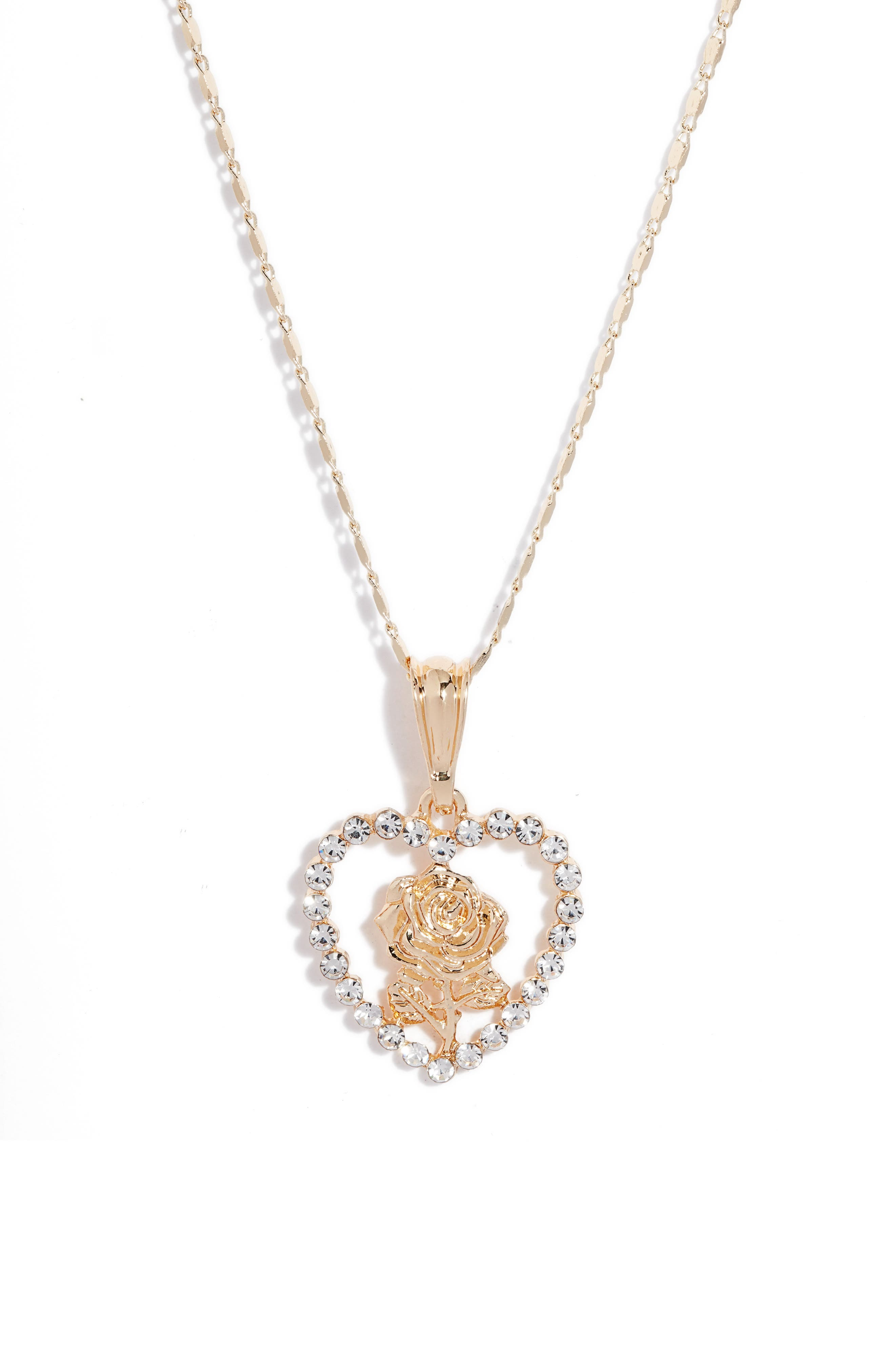 Heart Rose Crystal Pendant Necklace