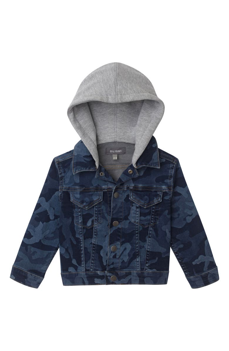 DL1961 Manning Camo Hooded Denim Jacket, Main, color, CRYPTIC BLUE