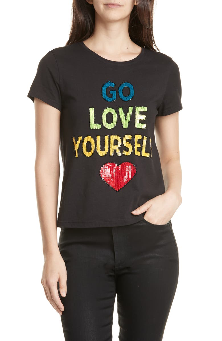 ALICE + OLIVIA Rylyn Go Love Yourself Sparkle Tee, Main, color, BLACK/ MULTI