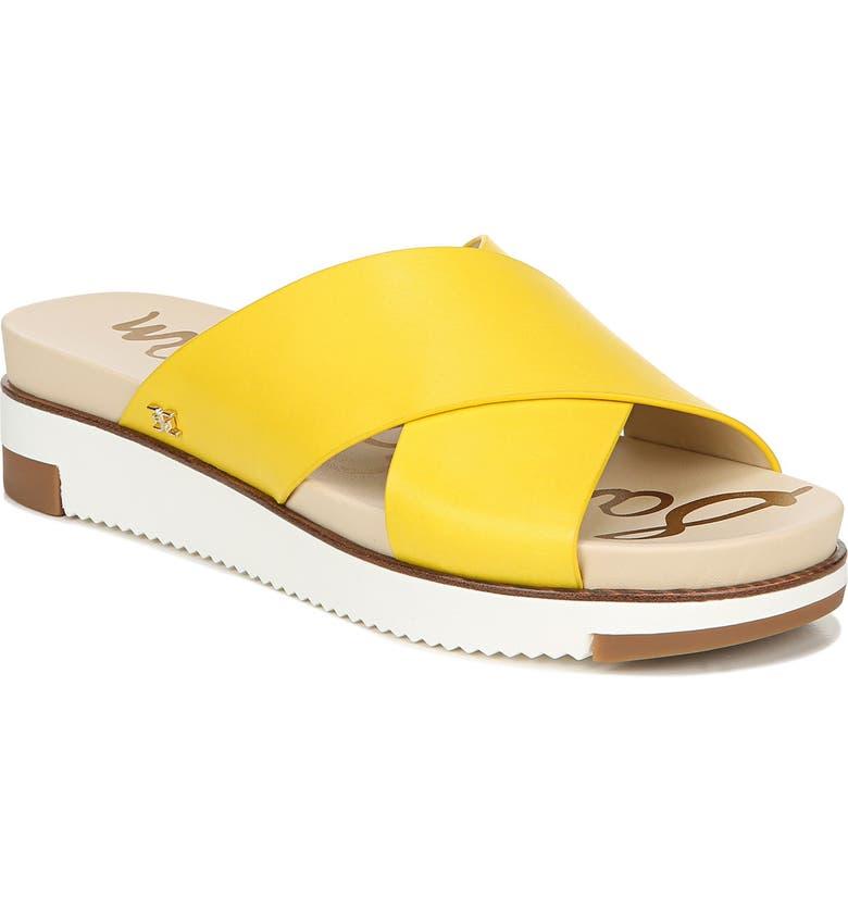 SAM EDELMAN Audrea Slide Sandal, Main, color, LEMON ZEST LEATHER