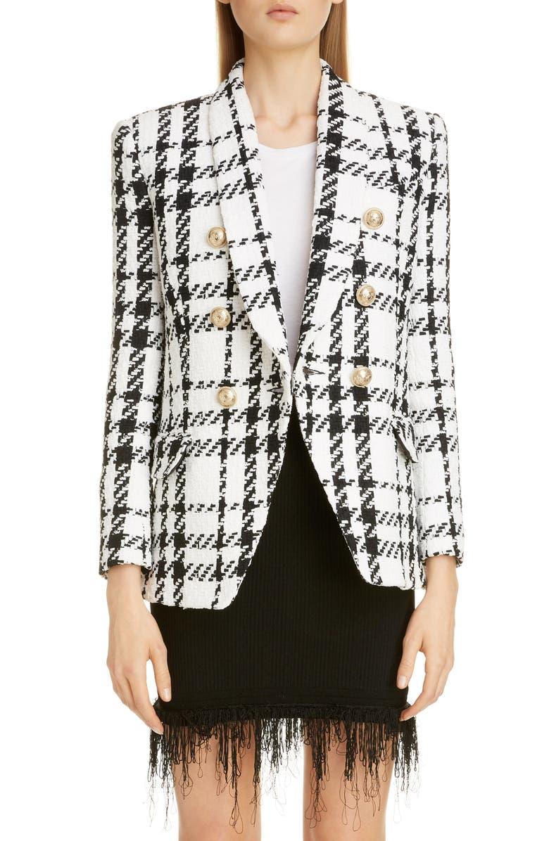 BALMAIN Double Breasted Check Tweed Jacket, Main, color, NOIR/ BLANC