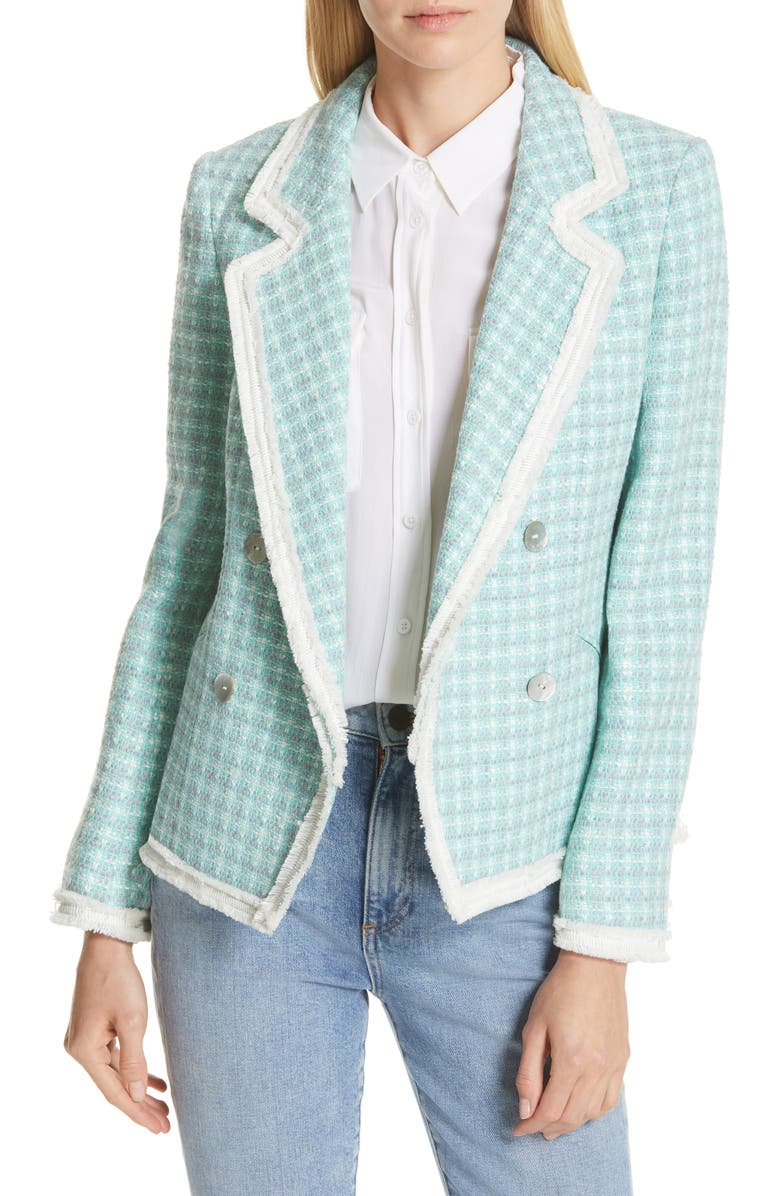 HELENE BERMAN Fringe Trim Tweed Jacket, Main, color, 300