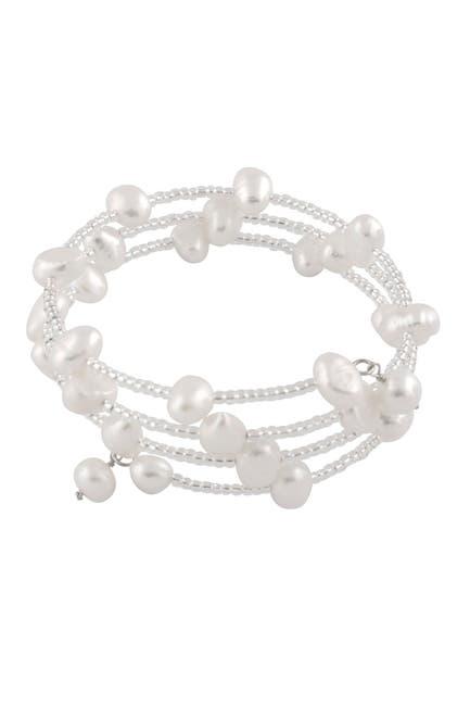 Image of Splendid Pearls Beaded 6-7mm Cultured Freshwater Pearl Coil Bracelet