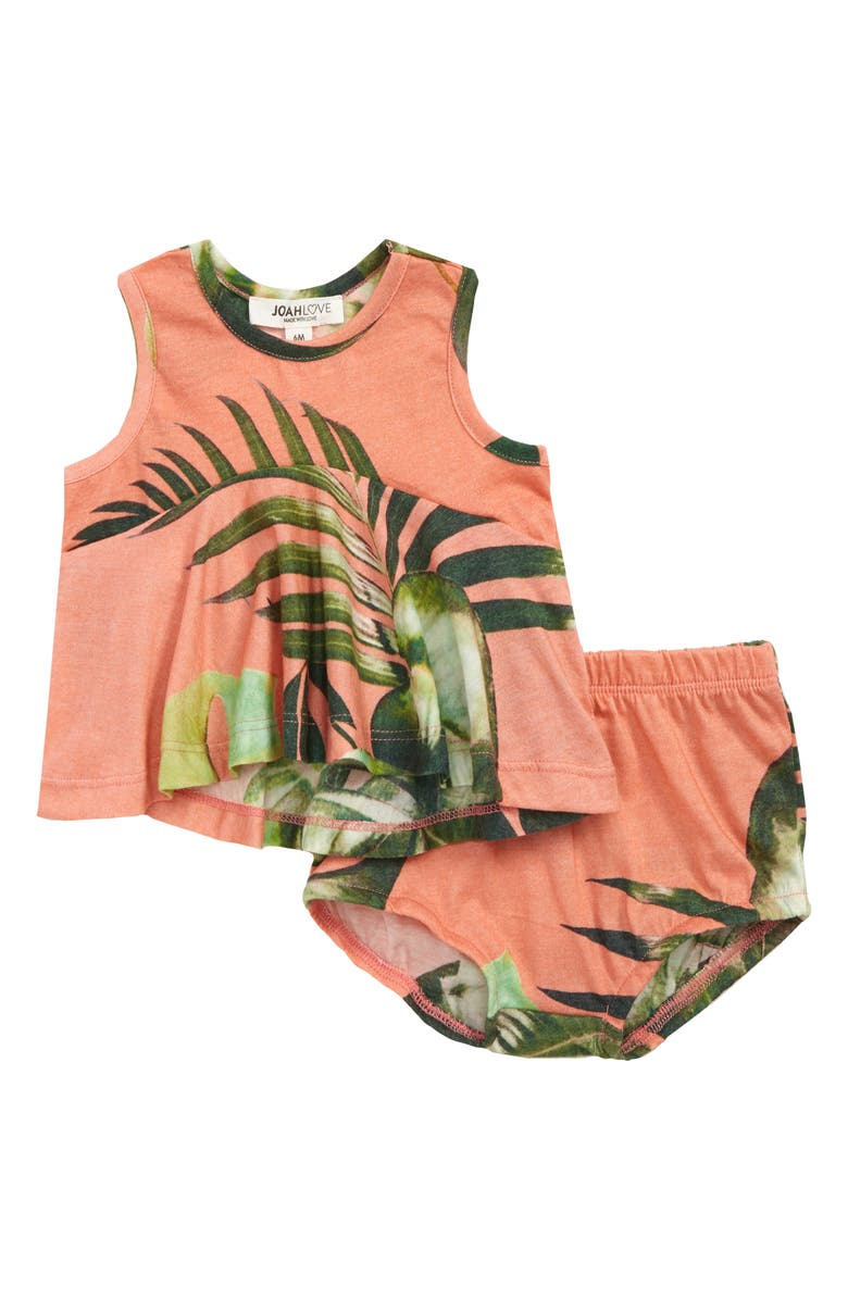 JOAH LOVE Edna Palm Print High/Low Swing Tank & Bloomers Set, Main, color, CORAL